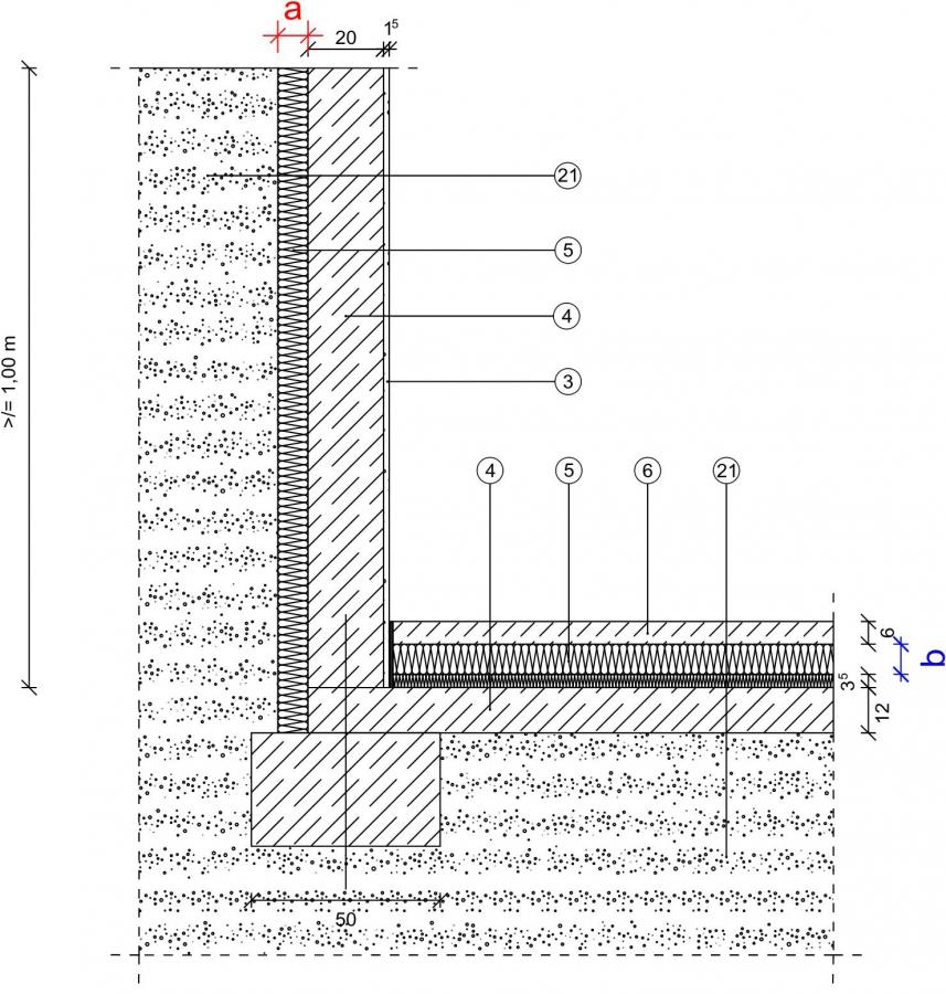 1 1 5 1 kg fundament bodenplatte innenged mmt stahlbetonwand au enged mmt erdreich 1 m. Black Bedroom Furniture Sets. Home Design Ideas