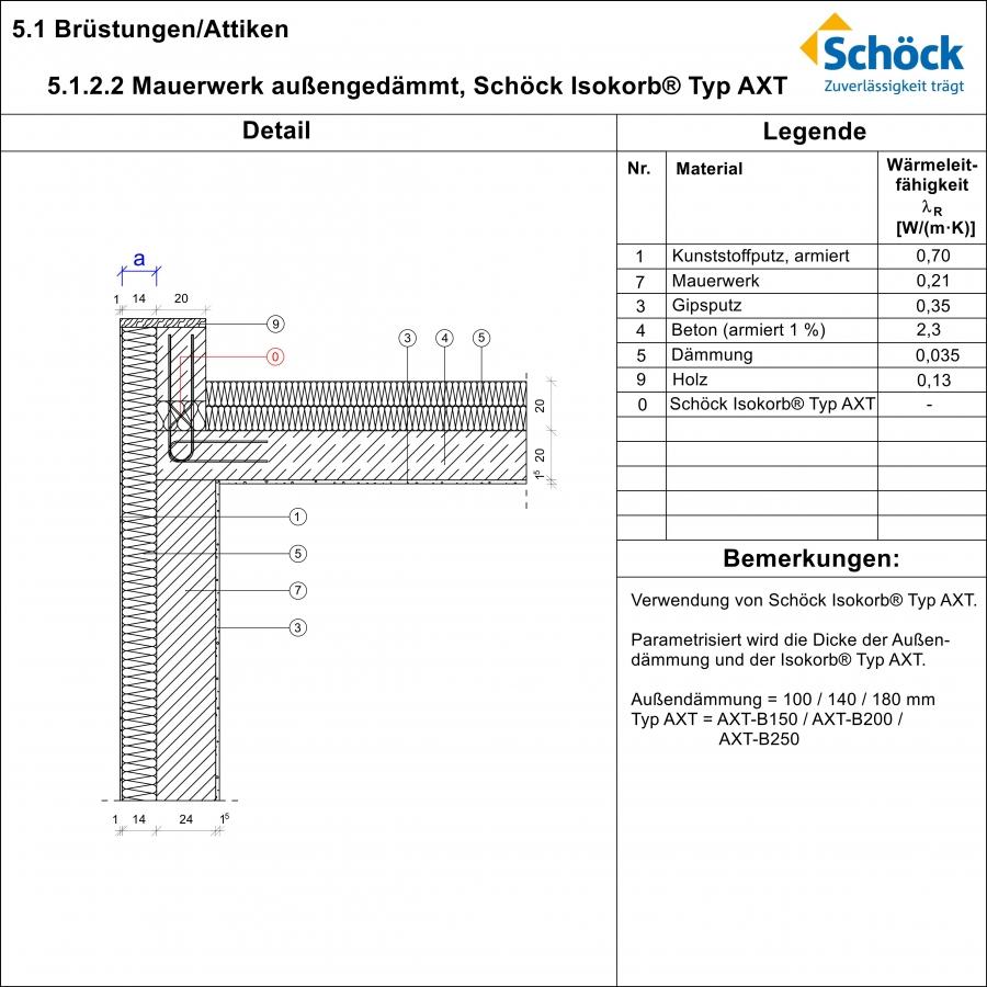 Sch ck isokorb typ axt 5 1 2 2 attika au enged mmtes mauerwerk - Beton innenwand ...